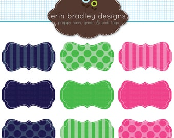 Preppy Frames Clipart Clip Art Personal and Commercial Use Navy Blue Green Pink