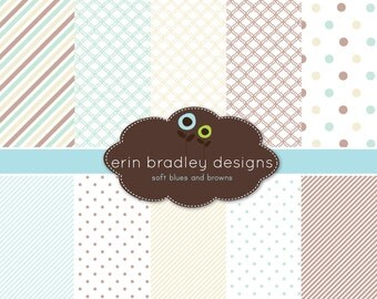Digital Paper Pack Scrapbook Papers Personal and Commercial Use Soft Blue and Browns