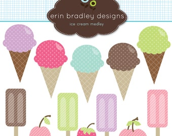 50% OFF SALE Ice Cream Clipart Clip Art for Personal and Commercial Use with Bars Cherries and a Strawberry