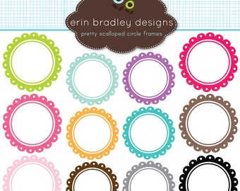 50% OFF SALE Scalloped Circle Frames Clipart Instant Download Commercial Use Clip Art Graphics