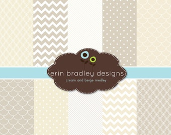 Digital Scrapbook Papers Personal and Commercial Use Beige and Cream Medley