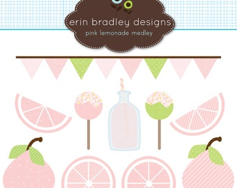 50% OFF SALE Pink Lemonade Clipart Clip Art Personal & Commercial Use