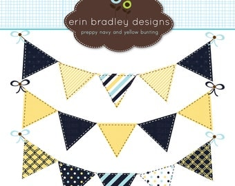50% OFF SALE Blue and Yellow Bunting Clipart Clip Art Banner Flags for Personal & Commercial Use