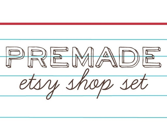 Premade Old School Notebook Paper Banner and Avatar Etsy Shop Set