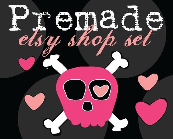 Premade Banner and Avatar Etsy Shop Set Grungy Pink Skulls and Polka Dots