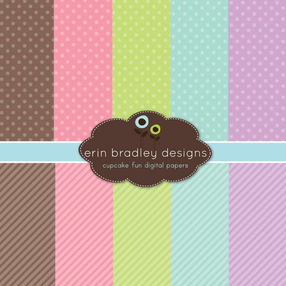 50% OFF SALE Digital Papers Personal and Commercial Use Colorful Polka Dots and Diagonal Stripes