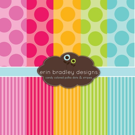 50% OFF SALE Digital Scrapbook Paper Personal and Commercial Use Colorful Polka Dots and Stripes