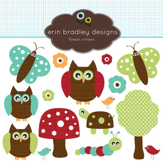 Forest Owls Clipart Clip Art in Red Teal Blue Green and Brown Personal & Commercial Use