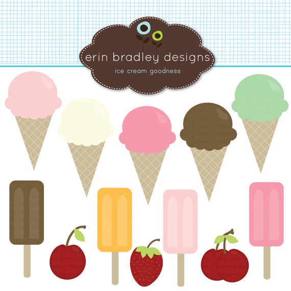 50% OFF SALE Ice Cream Cones Clipart Clip Art for Personal and Commercial Use with Bars Cherries and a Strawberry