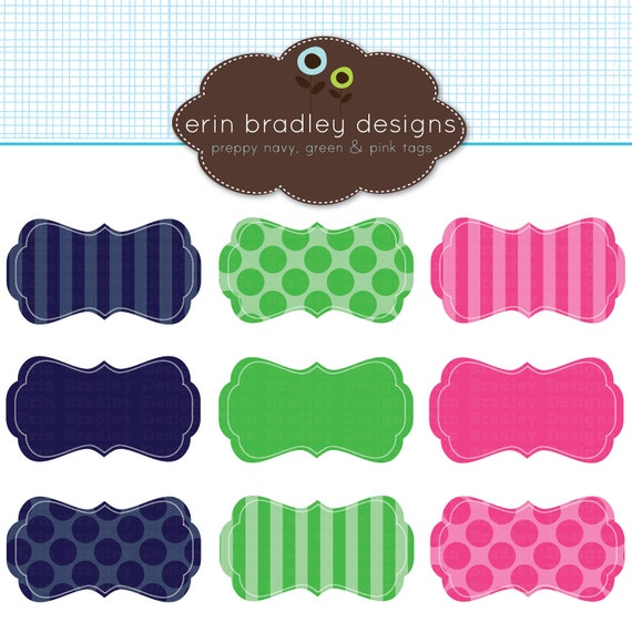 50% OFF SALE Preppy Frames Clipart Clip Art Personal and Commercial Use Navy Blue Green Pink