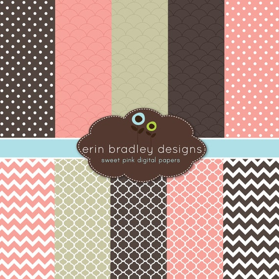Digital Paper Pack Scrapbook Papers Personal and Commercial Use Sweet Pink and Browns
