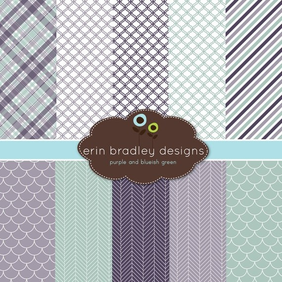 80% OFF SALE Digital Scrapbook Papers Personal and Commercial Use Purple and Blue Green Medley