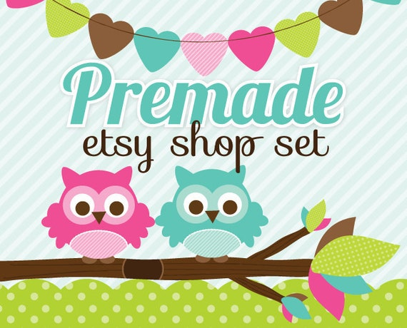 Premade Etsy Banner & Avatar Shop Set Pink and Blue Owls and Heart Bunting