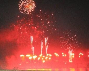 Red, Explosion, Fireworks, Thunder Over Louisville, Kentucky, Fine Art, Photograph, Print, Metallic, OOAK