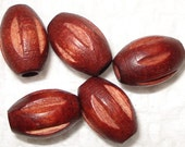 7x10mm Carved Oval Wood Beads, Carved Oval Wooden Beads (25) Mahogany