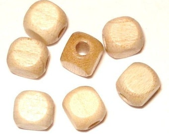 6mm Cube Wood Beads Wooden Beads (100) Natural