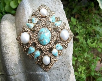 Sarah Coventry Faux Turquoise Brooch