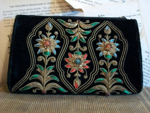 Velvet Metallic Thread Clutch