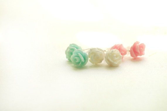 Tiny Rose Earring Set Shabby Chic Pastel Pink Mint Ivory Trio Three Pairs Posts