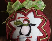 Christmas Penguin Quilted Ornament