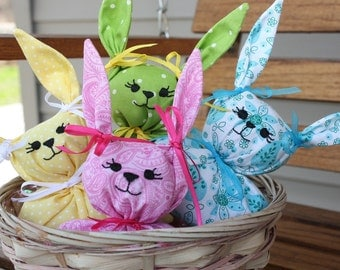 4 Polka Dot and Paisley Easter Bunnies
