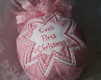 Pink Baby's First Christmas Ornament / Personalized