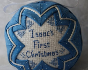 Blue and White Baby's First Christmas Ornament / Personalized