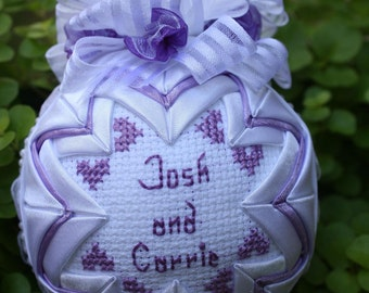 Personalized Quilted Wedding Ornament