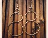 Antique Bronze Textured Hoop Earrings