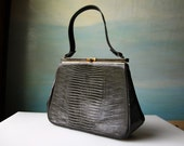 Vintage Crocodile / Alligator Purse.  60's Black Bag w Gold Clasp