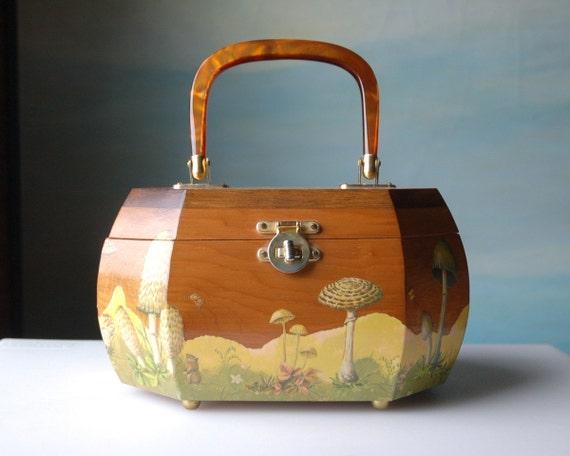 Fantastic Vintage Purse. Decoupage Toadstool Handbag in Wood