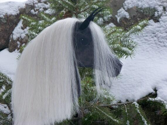 Arabian Stick Horse Dark Gray Dapple with White Mane