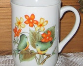 Vintage Birds and Flowers Retro Coffee Mugs / Set of 3 Mugs