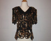 Vintage 80s STENAY India Black Silk Sequin Beaded Deco GLAM Disco Trophy Blouse Fancy Top