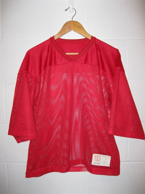 Vintage 80s SeXy Red Mesh Football Jersey Top S / M