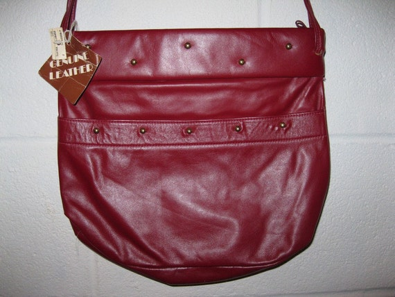 vintage Oxblood Purse Studded Burgundy Red Shoulder Bag