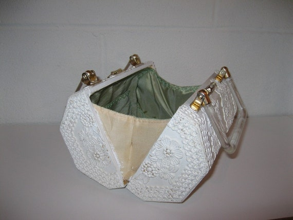 1960s Box Purse Cream Floral Lace Bridal Clutch Unique Handbag Structured Purse