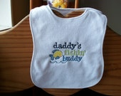 Daddy's little fishin buddy embroidered bib