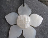 Shell Flower Necklace with sterling silver fair trade bead