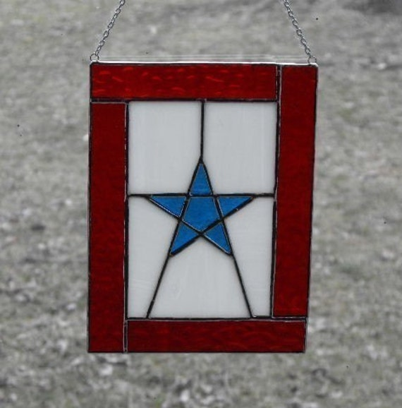 Stained Glass Blue Star Banner (made to order)
