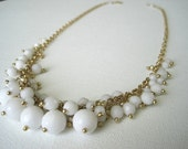 White Jade Cluster Necklace (in gold)