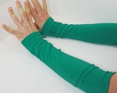 Arm Warmers in Mediterranean Sea Green - Long Cuffs - Eco Friendly - Organic Cotton Soy