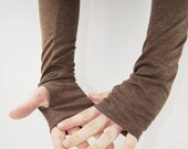 Arm Warmers in Hazelnut Brown - Organic Cotton Recycled Polyester