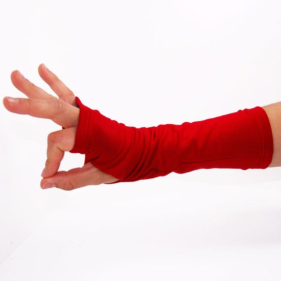 Arm Warmers in Very Cherry Red - Sleeves - Fingerless Mitts Gloves