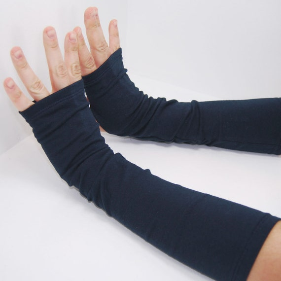 Arm Warmers in Basic Blue Navy - Sleeves - Fingerless Gloves Mitts