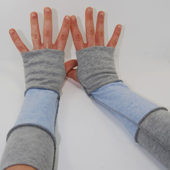 Arm Warmers in Snow and Ice  - Recycled Cashmere Cotton - Fingerless Gloves Mitts