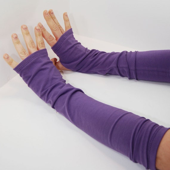 Arm Warmers in Grape Soda Purple - Fingerless Gloves Mitts - Sleeves