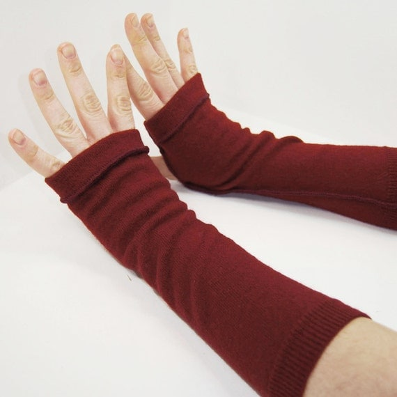 Arm Warmers in Blood Red Merino - Recycled Felted Fingerless Gloves