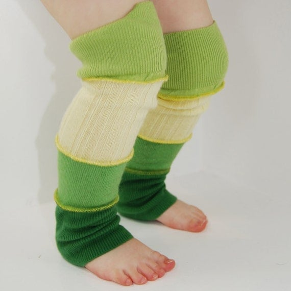 Leg Warmers for Kids - Citrus Lemon Yellow Lime Green - Recycled Sweaters