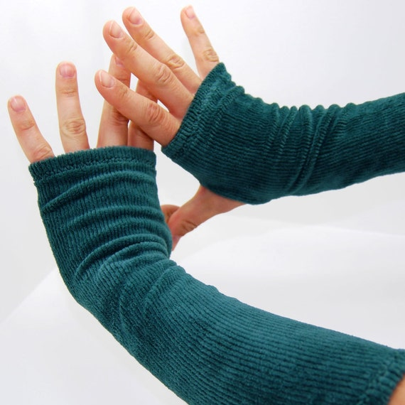Arm Warmers in Fuzzy Green Caterpillar - Extra Long Fingerless Gloves - LAST PAIR